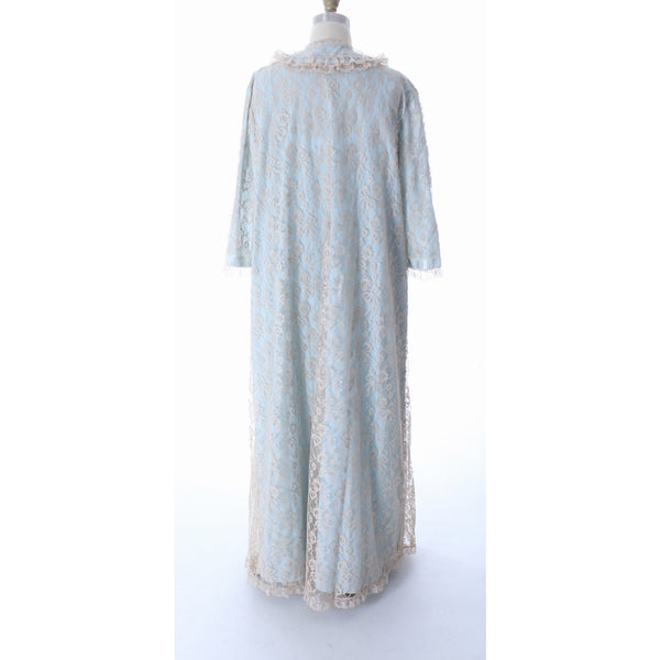 Odette Barsa VTG Nylon Lingerie Nightgown Robe Set Lace Peignoir Negligee Blue M & L NWT 1960s - The Best Vintage Clothing  - 12