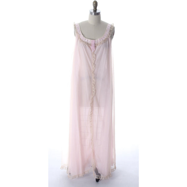 Odette Barsa VTG Nylon Lingerie Nightgown Robe Set Lace Peignoir Negligee Pink M & L NWT 1960s - The Best Vintage Clothing  - 2