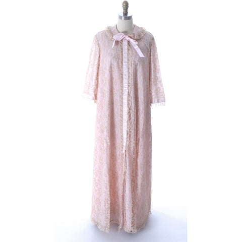 Odette Barsa VTG Nylon Lingerie Nightgown Robe Set Lace Peignoir Negligee Pink M & L NWT 1960s