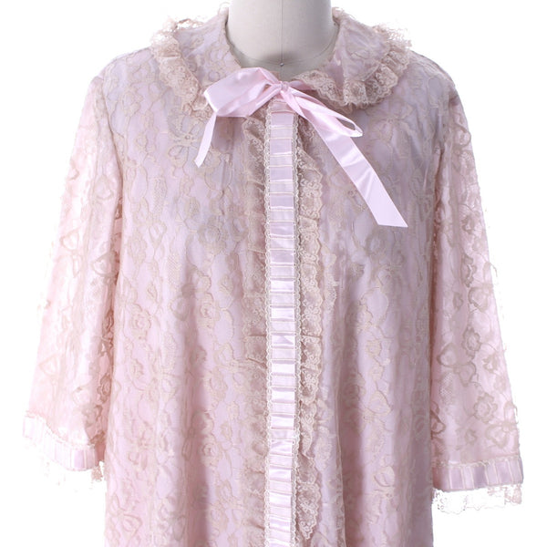 Odette Barsa VTG Nylon Lingerie Nightgown Robe Set Lace Peignoir Negligee Pink M & L NWT 1960s - The Best Vintage Clothing  - 6