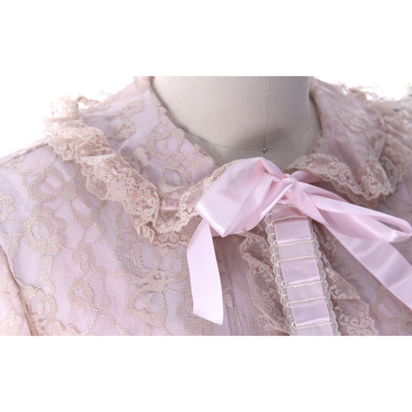 Odette Barsa VTG Nylon Lingerie Nightgown Robe Set Lace Peignoir Negligee Pink M & L NWT 1960s - The Best Vintage Clothing  - 7