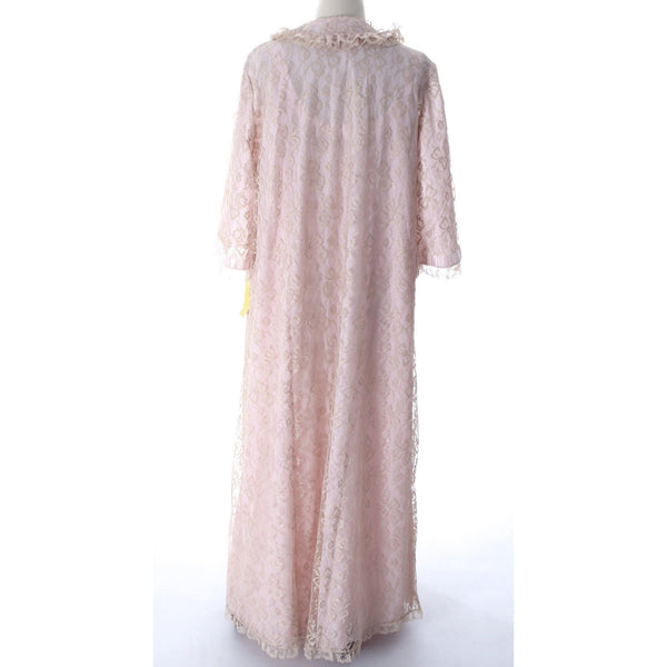 Odette Barsa VTG Nylon Lingerie Nightgown Robe Set Lace Peignoir Negligee Pink M & L NWT 1960s - The Best Vintage Clothing  - 9