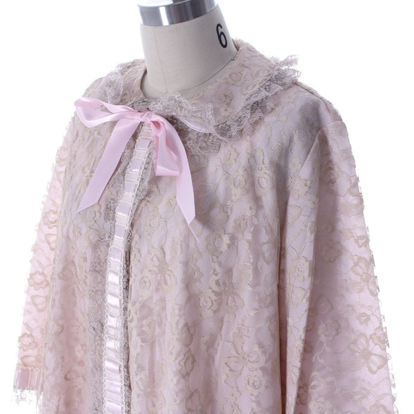 Odette Barsa VTG Nylon Lingerie Nightgown Robe Set Lace Peignoir Negligee Pink M & L NWT 1960s - The Best Vintage Clothing  - 15