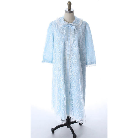 Odette Barsa VTG Nylon Lingerie Nightgown Robe Set Lace Peignoir Negligee Blue L NWOT 1960s