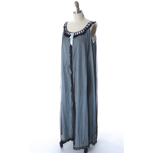 Odette Barsa VTG Nylon Lingerie Nightgown Robe Set Lace Peignoir Negligee Blue Black M NWT 1960s - The Best Vintage Clothing  - 2