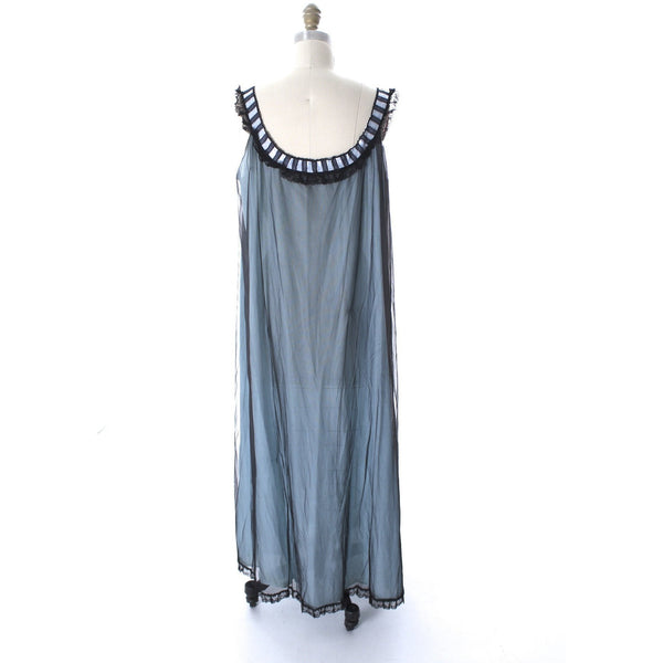 Odette Barsa VTG Nylon Lingerie Nightgown Robe Set Lace Peignoir Negligee Blue Black M NWT 1960s - The Best Vintage Clothing  - 6