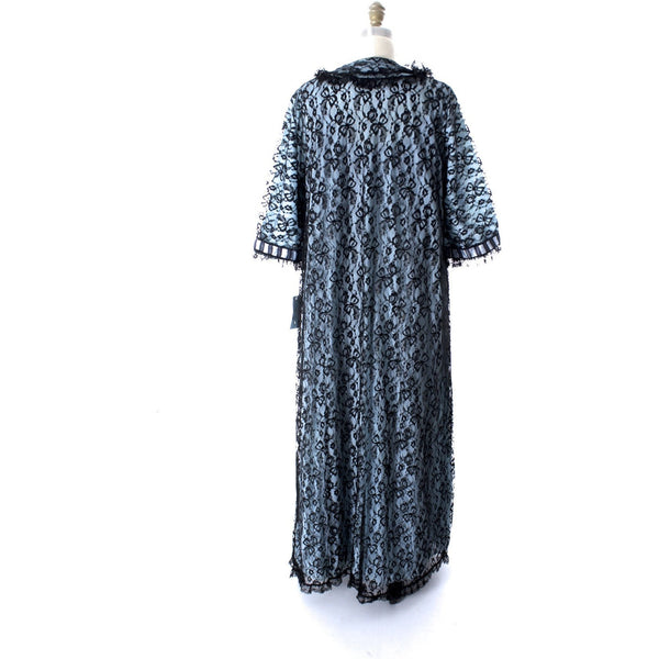 Odette Barsa VTG Nylon Lingerie Nightgown Robe Set Lace Peignoir Negligee Blue Black M NWT 1960s - The Best Vintage Clothing  - 7