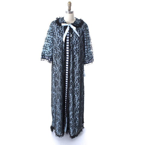 Odette Barsa VTG Nylon Lingerie Nightgown Robe Set Lace Peignoir Negligee Blue Black M NWT 1960s