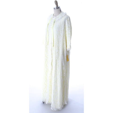 Odette Barsa VTG Nylon Lingerie Nightgown Robe Set Lace Peignoir Negligee Yellow L NWT 1960s - The Best Vintage Clothing  - 1