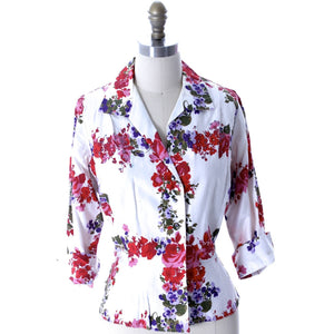 Vintage 1950s Cotton Blouse Floral Print Malbe 18 Rhinestone Studded Lovely Womens Mid-Century - The Best Vintage Clothing  - 1