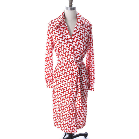 Vintage Caron Nylon Qiana Shirt Dress Great Bright Red & White Print 1970s NWT Sz 16