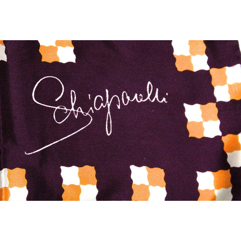 "Vintage Schiaparelli Silk Scarf Purple Orange 27"" Square Hand Rolled 1960s"