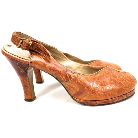 "Vtg 1940s Alligator Platform Shoes Heels Slingback Peep-toe 7 M 4"" Heel"