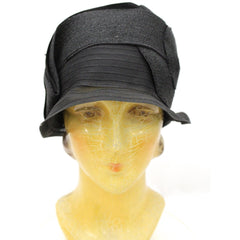 Antique Cloche Hat Black Horsehair  Straw & Satin Large Head Gorgeous Vintage Chapeaux - The Best Vintage Clothing