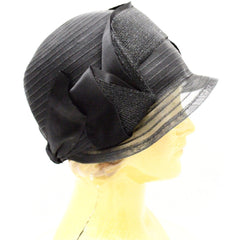 Antique Cloche Hat Black Horsehair  Straw & Satin Large Head Gorgeous Vintage Chapeaux - The Best Vintage Clothing  - 2