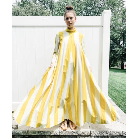 Vintage Vuokko Awning Stripe Gown, Iconic Style, Finnish Designer 1970s Yellow White