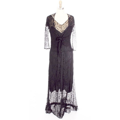 Antique Vintage Black Chantilly Lace Bias Cut Gown 1930s 2 PC Jacket Long Dress Small