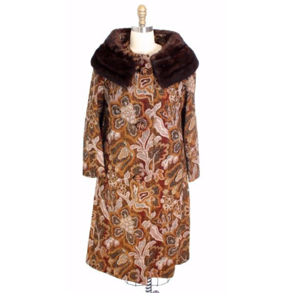 VTG NWT 1960s Golet Tapestry Womens Coat Classic Fit Natural Mink Collar Browns S Up To 14 - The Best Vintage Clothing  - 1