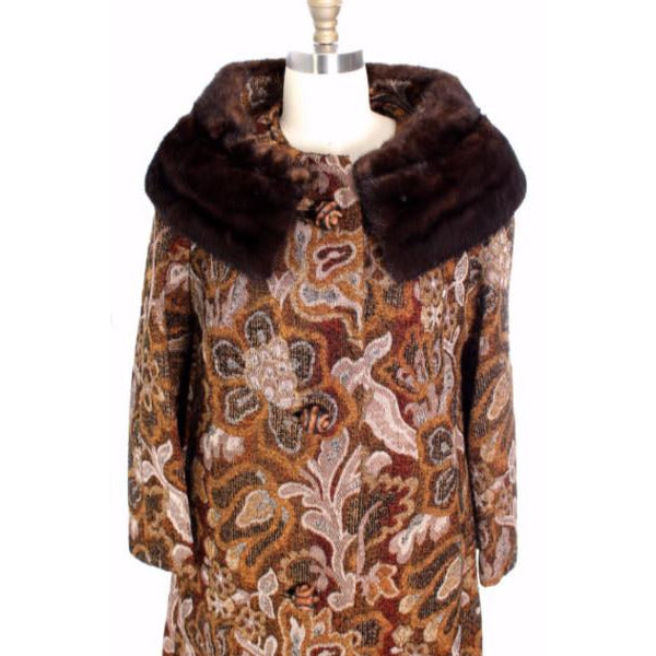 VTG NWT 1960s Golet Tapestry Womens Coat Classic Fit Natural Mink Collar Browns S Up To 14 - The Best Vintage Clothing  - 2