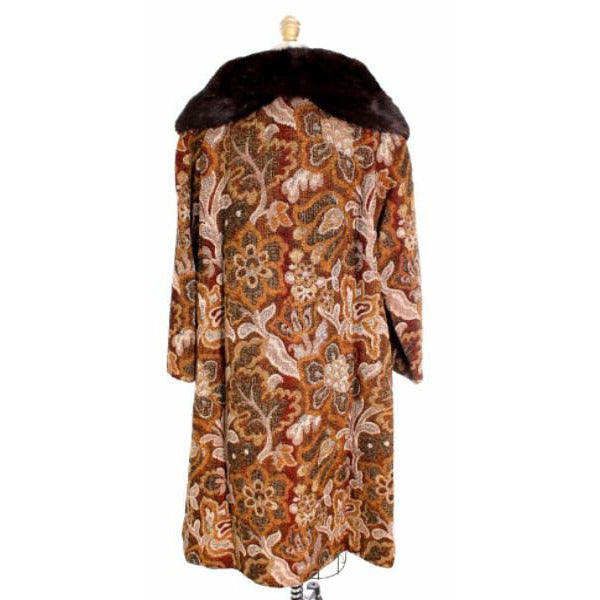 VTG NWT 1960s Golet Tapestry Womens Coat Classic Fit Natural Mink Collar Browns S Up To 14 - The Best Vintage Clothing  - 5
