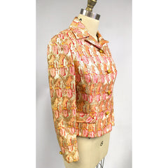 Gino Charles Vintage 60s  Designer Cocktail Jacket Pink Orange Sherbet Colors & Gold Metallic 10 - The Best Vintage Clothing  - 3