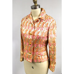 Gino Charles Vintage 60s  Designer Cocktail Jacket Pink Orange Sherbet Colors & Gold Metallic 10 - The Best Vintage Clothing  - 5