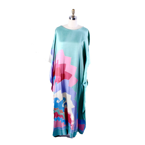 Vintage Silk Charmeuse Maxi Gown/Kaftan 1980s Ocean Waves Batik Print COlorful O/S
