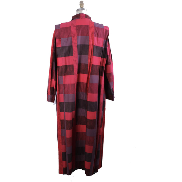 Vintage Marimekko 1980s Cotton Plaid Shirt Tent Dress Red & Purple  40/12 M/L