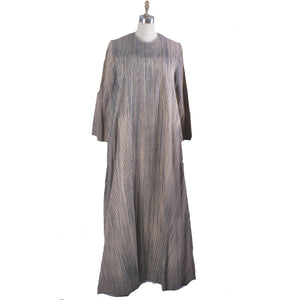 Vintage 1970s Vuokko Tent Dress Black Tan Blue Tan Vertical Stripes Iconic Cotton 38 M/L