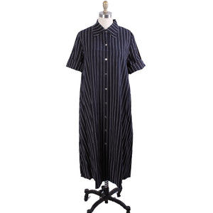 Vintage Vuokko Printed Cotton Shirt Dress 1970s Black & White Stripes 42/ M L
