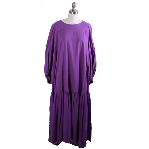 Vintage 1970s Vuokko Dress Violet Purple Cotton 38 Dropped Waist