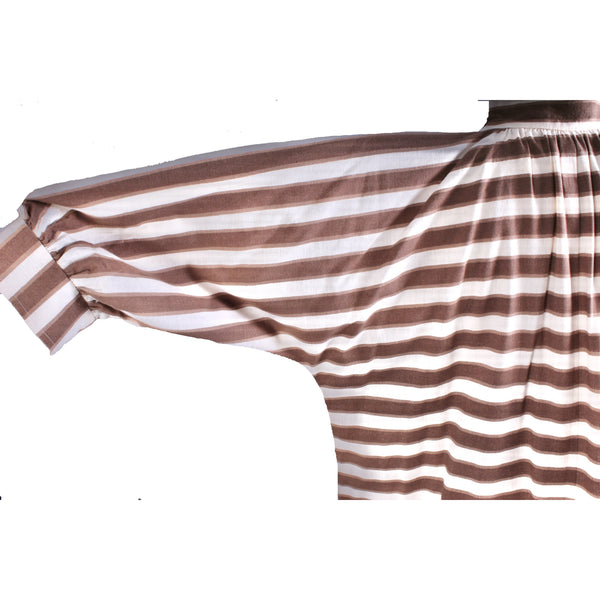 Vintage Vuokko Maxi Dress Snap Front Horizontal Stripe Cotton 1970s Medium
