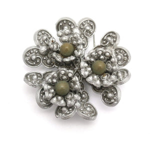 Vintage Celluloid Brooch Gray w/ Green Centers 1930s - The Best Vintage Clothing  - 1