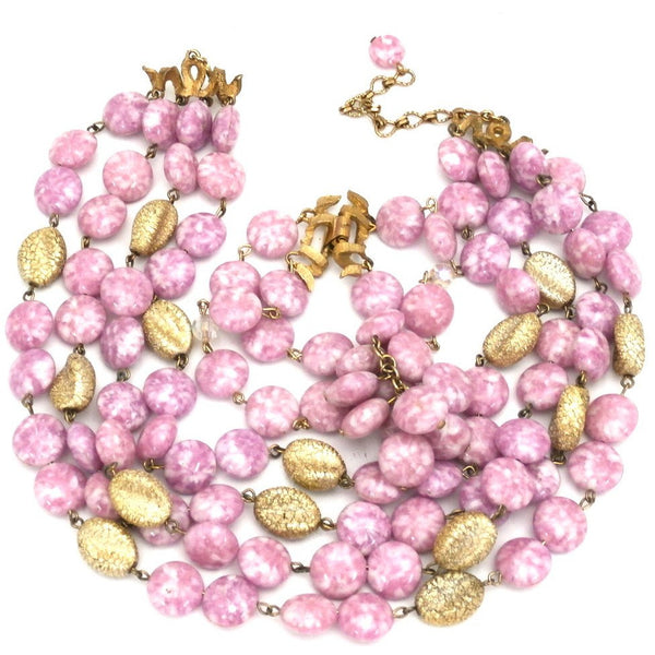 Vintage Kramer 4 Strand Demi Parure Cool Pink & Gold 1950s Lovely - The Best Vintage Clothing  - 2
