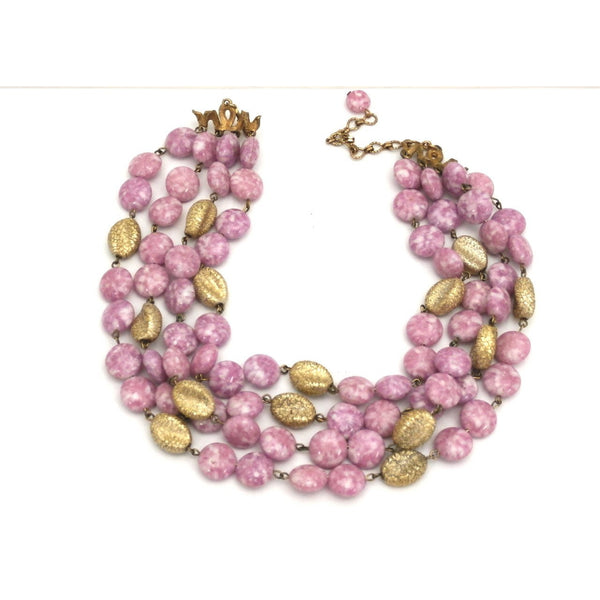 Vintage Kramer 4 Strand Demi Parure Cool Pink & Gold 1950s Lovely - The Best Vintage Clothing  - 1