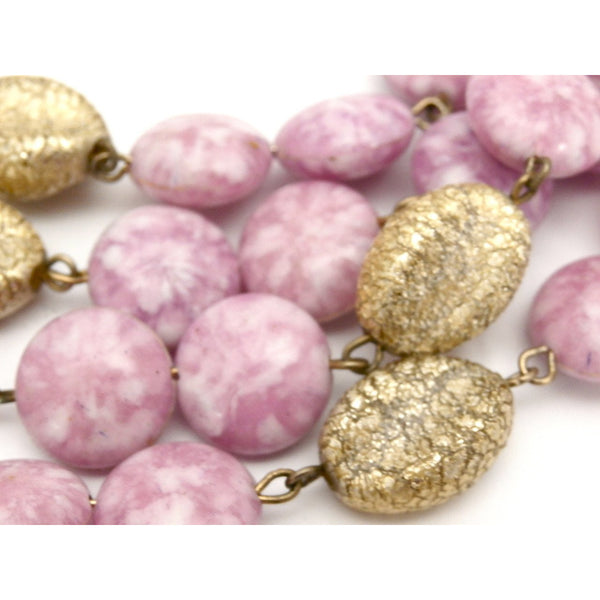 Vintage Kramer 4 Strand Demi Parure Cool Pink & Gold 1950s Lovely - The Best Vintage Clothing  - 4