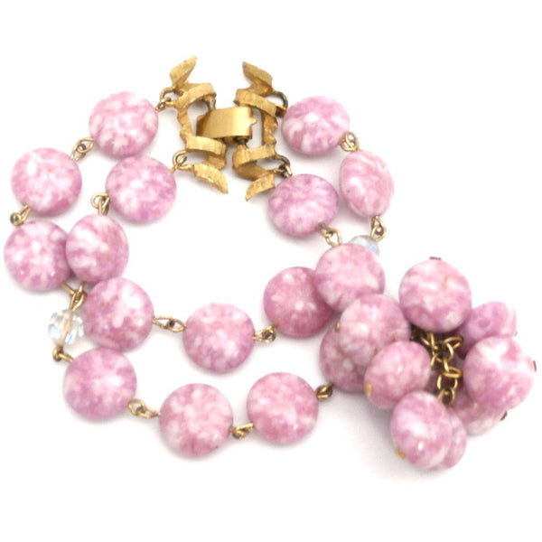 Vintage Kramer 4 Strand Demi Parure Cool Pink & Gold 1950s Lovely - The Best Vintage Clothing  - 3