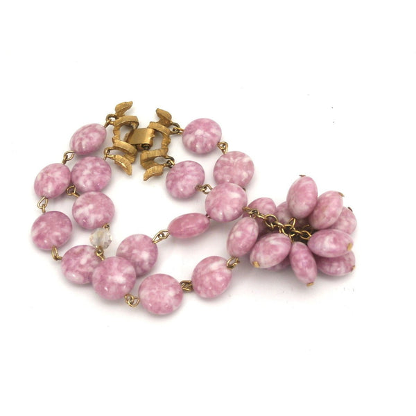 Vintage Kramer 4 Strand Demi Parure Cool Pink & Gold 1950s Lovely - The Best Vintage Clothing  - 6