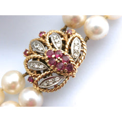 Vintage Estate Double Strand 9MM Pearls .25 K Diamonds Ruby Large 14K  1930s - The Best Vintage Clothing  - 3