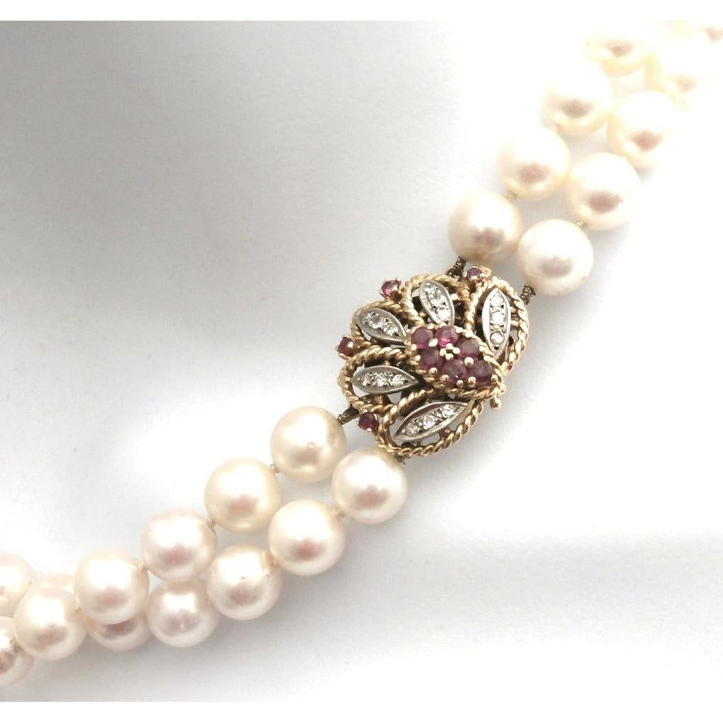 Vintage Estate Double Strand 9MM Pearls .25 K Diamonds Ruby Large 14K  1930s - The Best Vintage Clothing  - 1