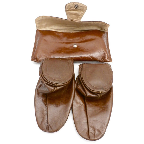 Vintage Womens Leather Travel Slippers & Case Size 8-9 1950s - The Best Vintage Clothing  - 2