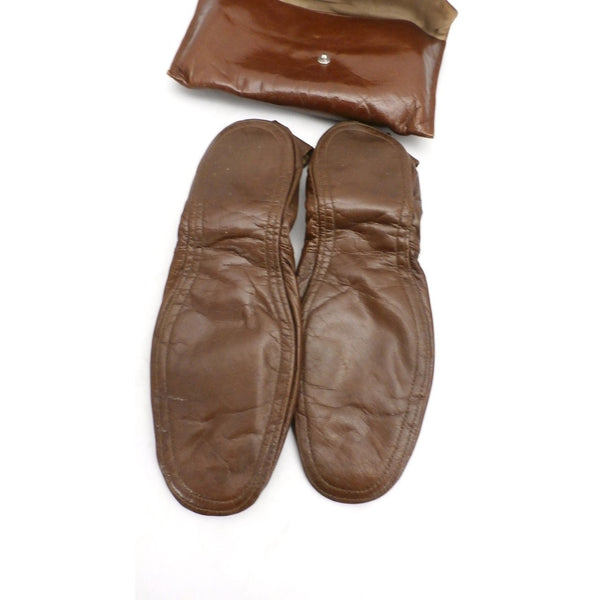 Vintage Womens Leather Travel Slippers & Case Size 8-9 1950s - The Best Vintage Clothing  - 3