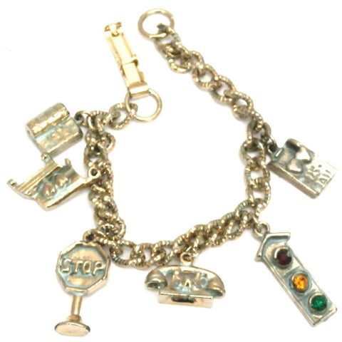 Vintage Charm Bracelet 1950s Stop Light Phone Hearts