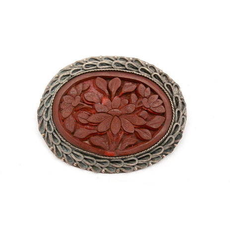 Antique VIctorian Brooch Copper/SIlver Cinnabar Carved