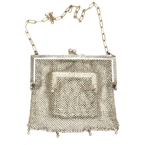 Antique German Silver Metal Mesh Purse w/Inner Change Purse 1870s - The Best Vintage Clothing  - 1