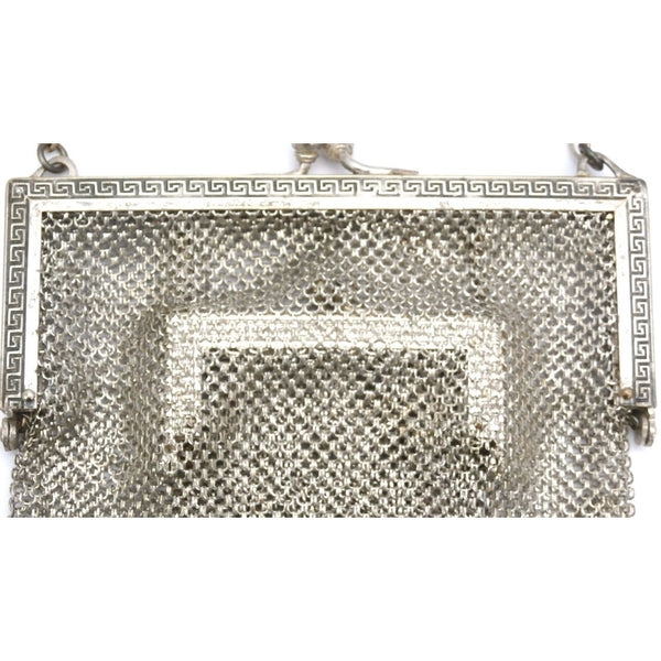 Antique German Silver Metal Mesh Purse w/Inner Change Purse 1870s - The Best Vintage Clothing  - 4