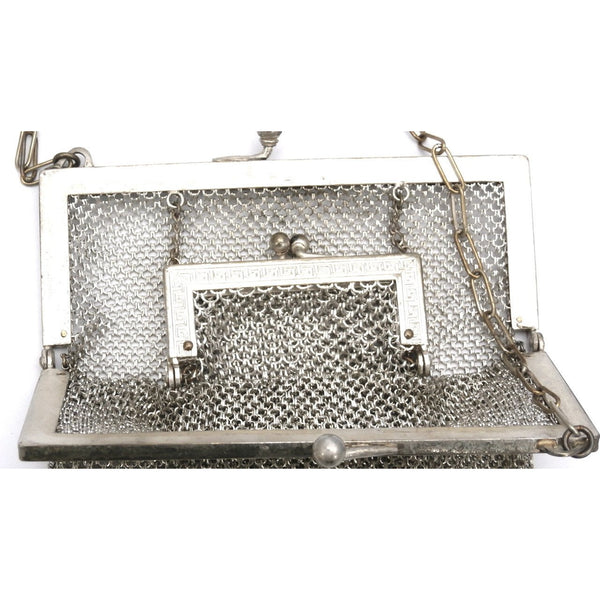 Antique German Silver Metal Mesh Purse w/Inner Change Purse 1870s - The Best Vintage Clothing  - 7
