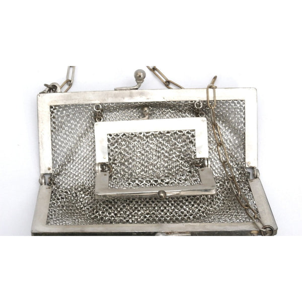 Antique German Silver Metal Mesh Purse w/Inner Change Purse 1870s - The Best Vintage Clothing  - 3