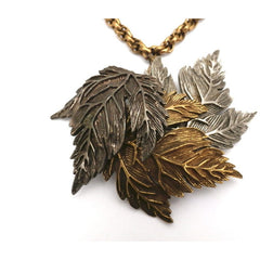 Vintage  Castlecliff Tri-color Leaves Necklace RARE 1950s 3D - The Best Vintage Clothing  - 2