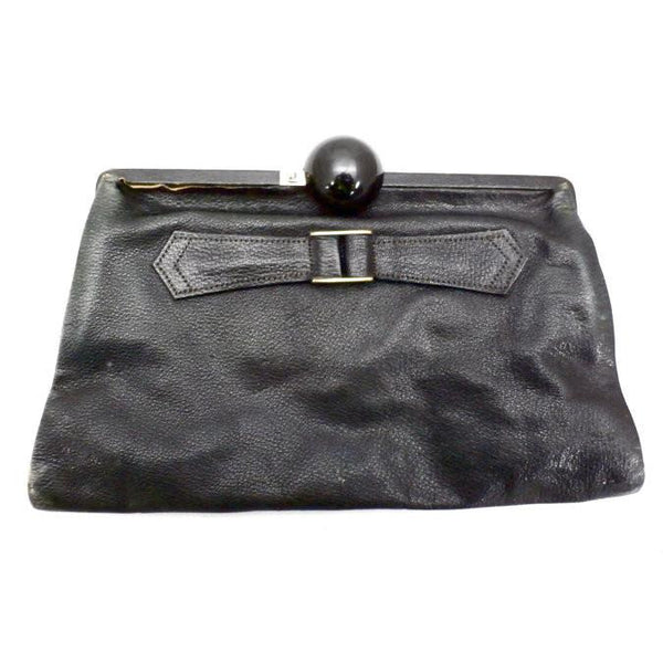 Vintage Black  Leather Clutch Purse w/ Huge Ball Clasp Art Deco 1920s - The Best Vintage Clothing  - 1